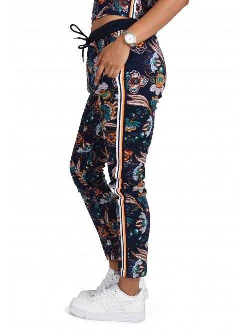 Pantalon de jogging fleuri à bandes rayées colorées Femme Project X Paris