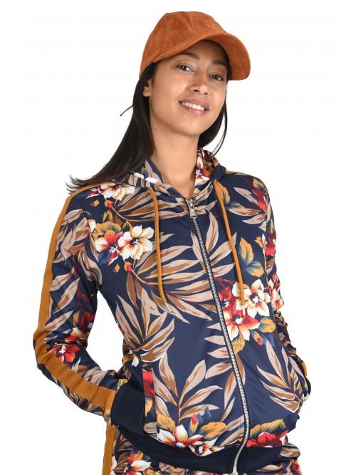 Veste à capuche imprimé tropical et bandes Femme Project X Paris