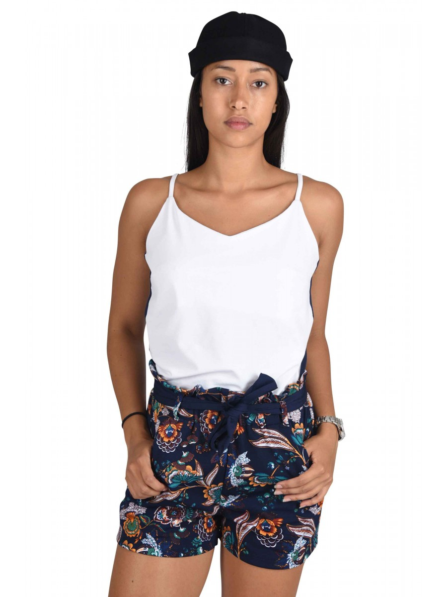 Printed Cami Top with Two-Tone Stripe