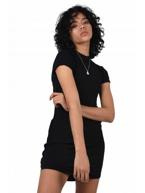 Robe moulante effet daim à manches courtes Femme Project X Paris