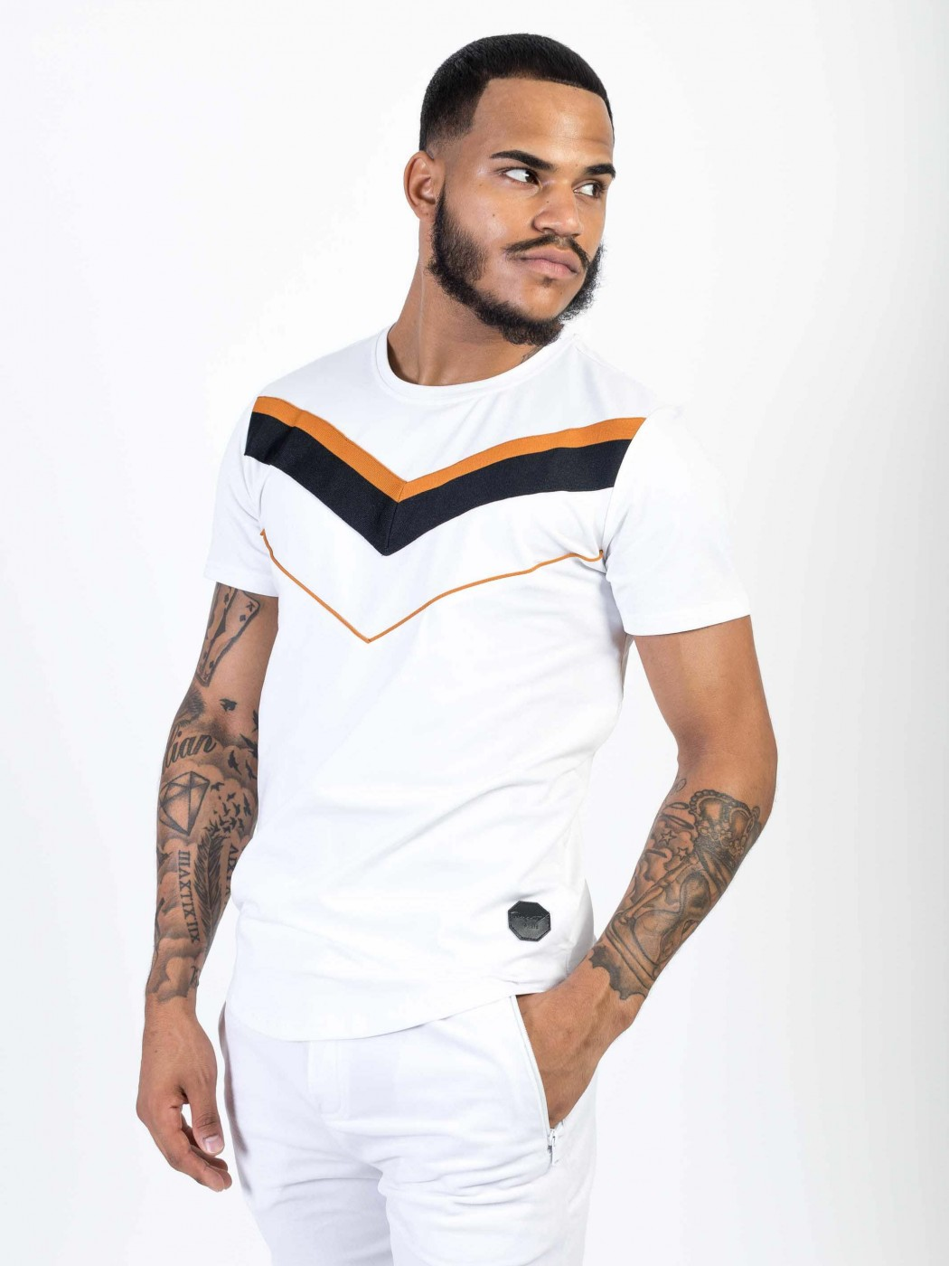 2c5339d52c2f Men's T-Shirt with Contrasting Chevron and Piping Project X Paris