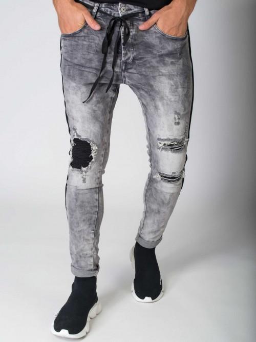 Jean slim empiècement biker Homme Project X Paris