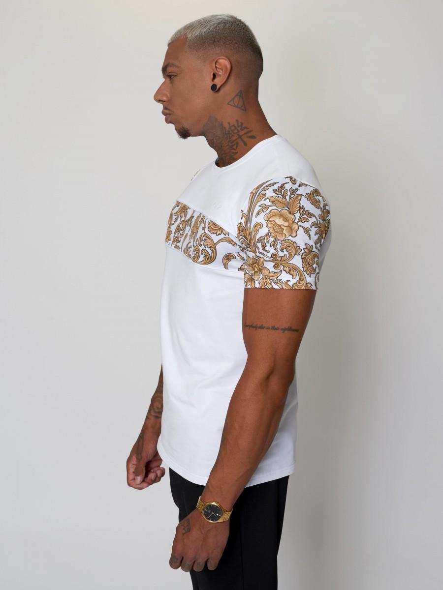 Tee shirt à motif baroque doré ornement