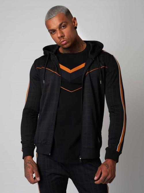 Veste à capuche à imprimé carreaux et bandes bicolores Homme Project X Paris