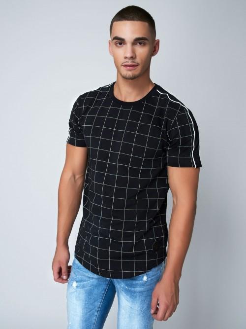 Tee shirt à carreaux et bandes colorées Homme Project X Paris