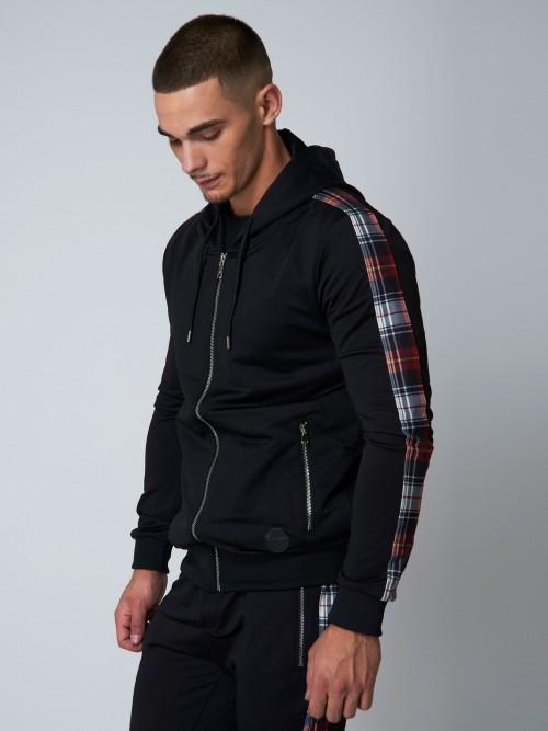 Veste à capuche à bandes imprimé écossais Homme Project X Paris
