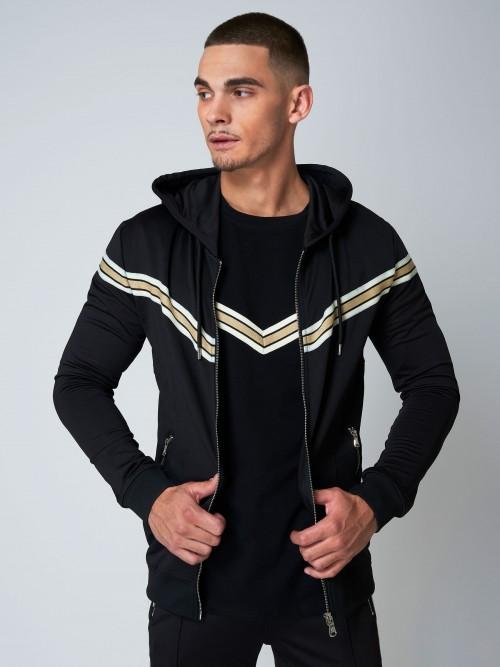 Veste à capuche à bande dorée en V Homme Project X Paris