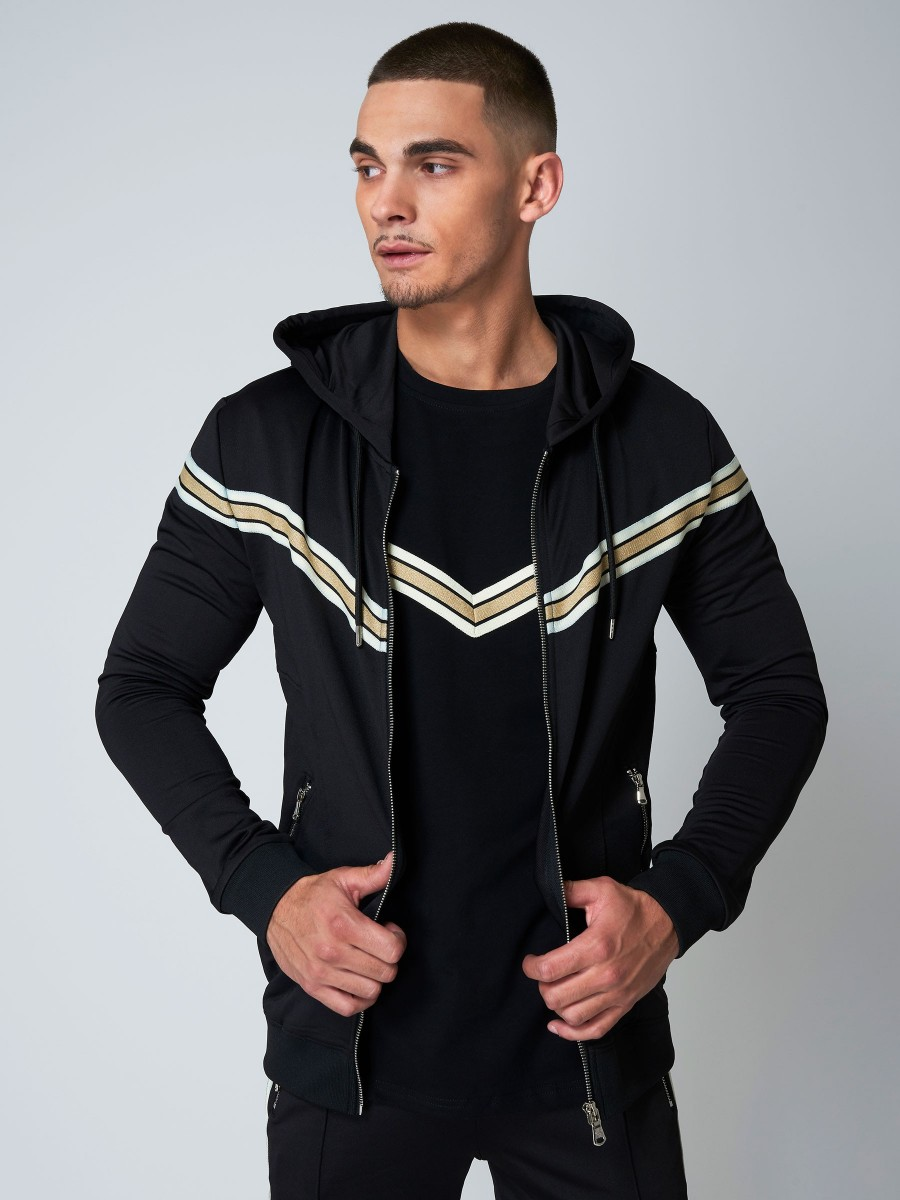 marque populaire style top grande remise Hooded Jacket with V-Shaped Gold Stripe