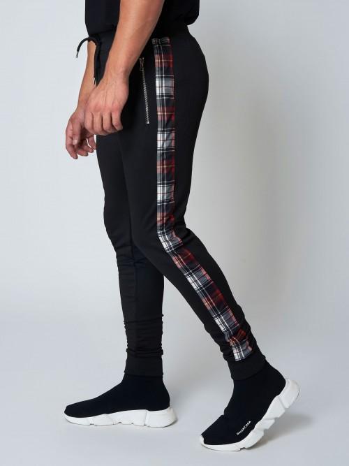 Pantalon de jogging à bandes imprimé écossais Homme Project X Paris