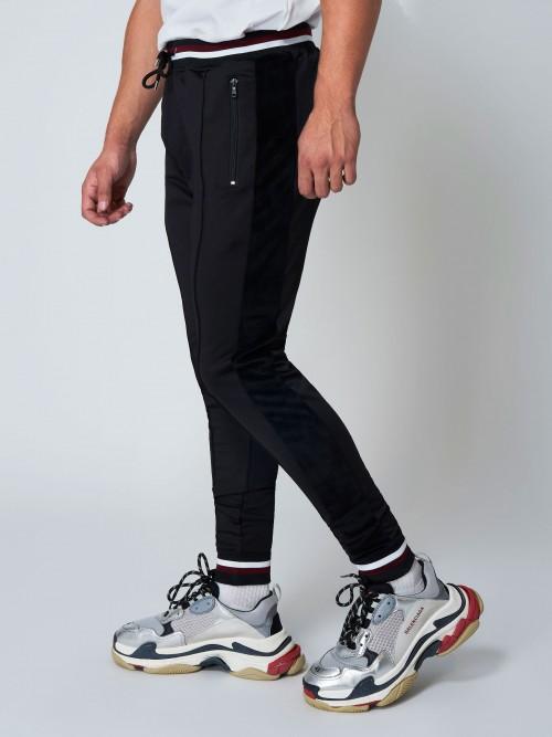 Pantalon de jogging bi-matière à bord-côtes colorés Homme Project X Pairs