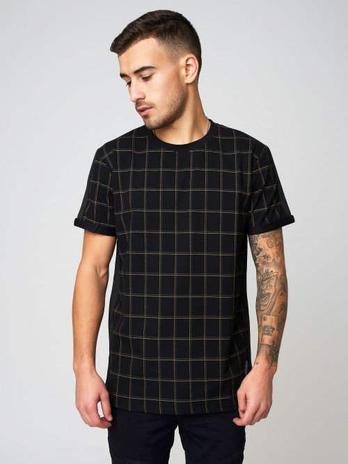 Checked T-shirt with contrasting stripes Project X Paris