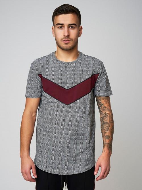 Tee shirt à empiècement V motif Prince de Galle Homme Project X Paris