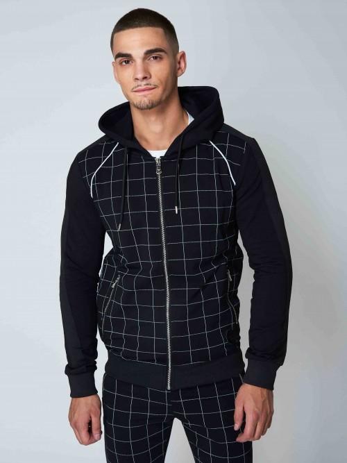 Veste à capuche imprimé gros carreaux Homme Project X Paris