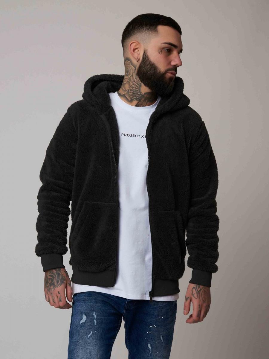 veste capuche effet peau de mouton homme project x paris. Black Bedroom Furniture Sets. Home Design Ideas