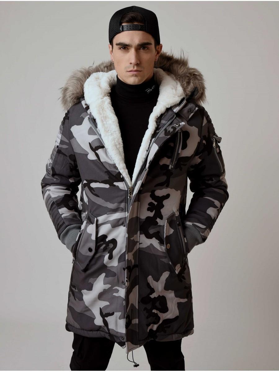 75071320b178 Men s Parka Jacket with Camo Print Project X Paris