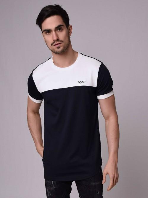 T-shirt bicolore et bi-matière Homme Project X Paris