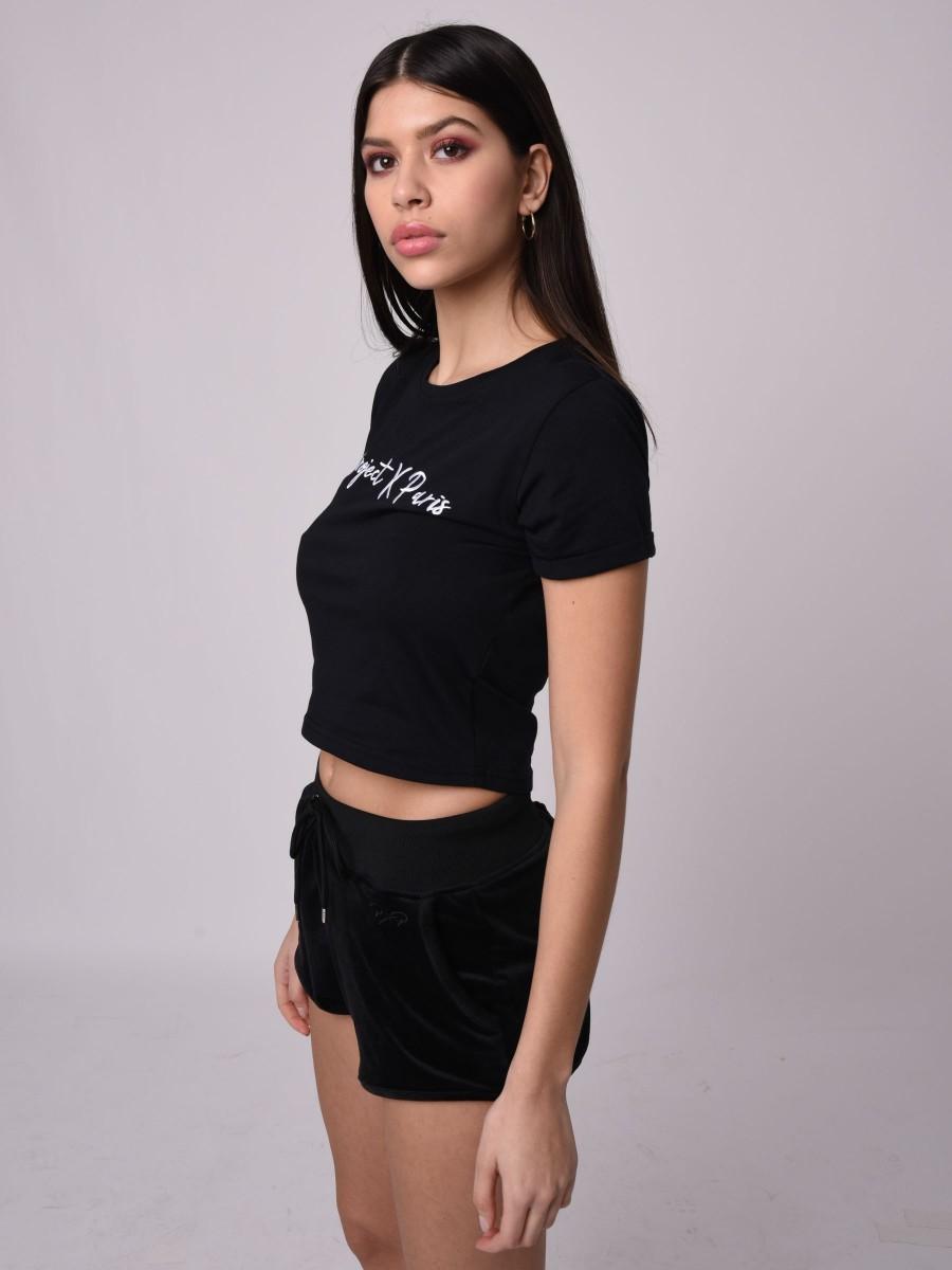 edf451f04f9 T-shirt crop top manches courtes à revers Femme Project X Paris