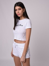 T-shirt crop top manches courtes à revers Femme Project X Paris