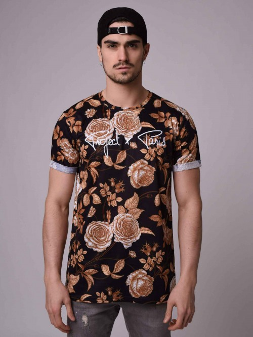 T-shirt manches courtes, imprimé fleurs dorées Homme Project X Paris