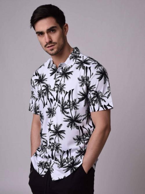 Chemise manches courtes à motif palmier Homme Project X Paris