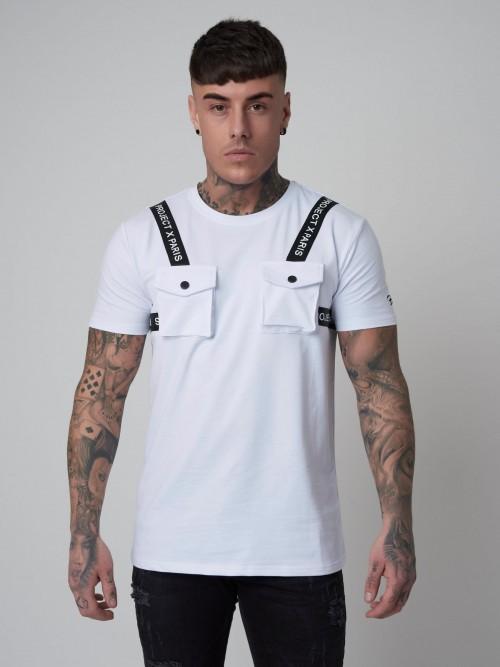 T-shirt manches courtes poches et bandes logos Homme Project X Paris
