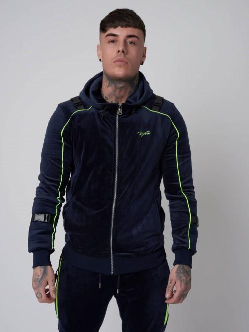 Veste à capuche velvet et fluo, empiècement biker Homme Project X Paris