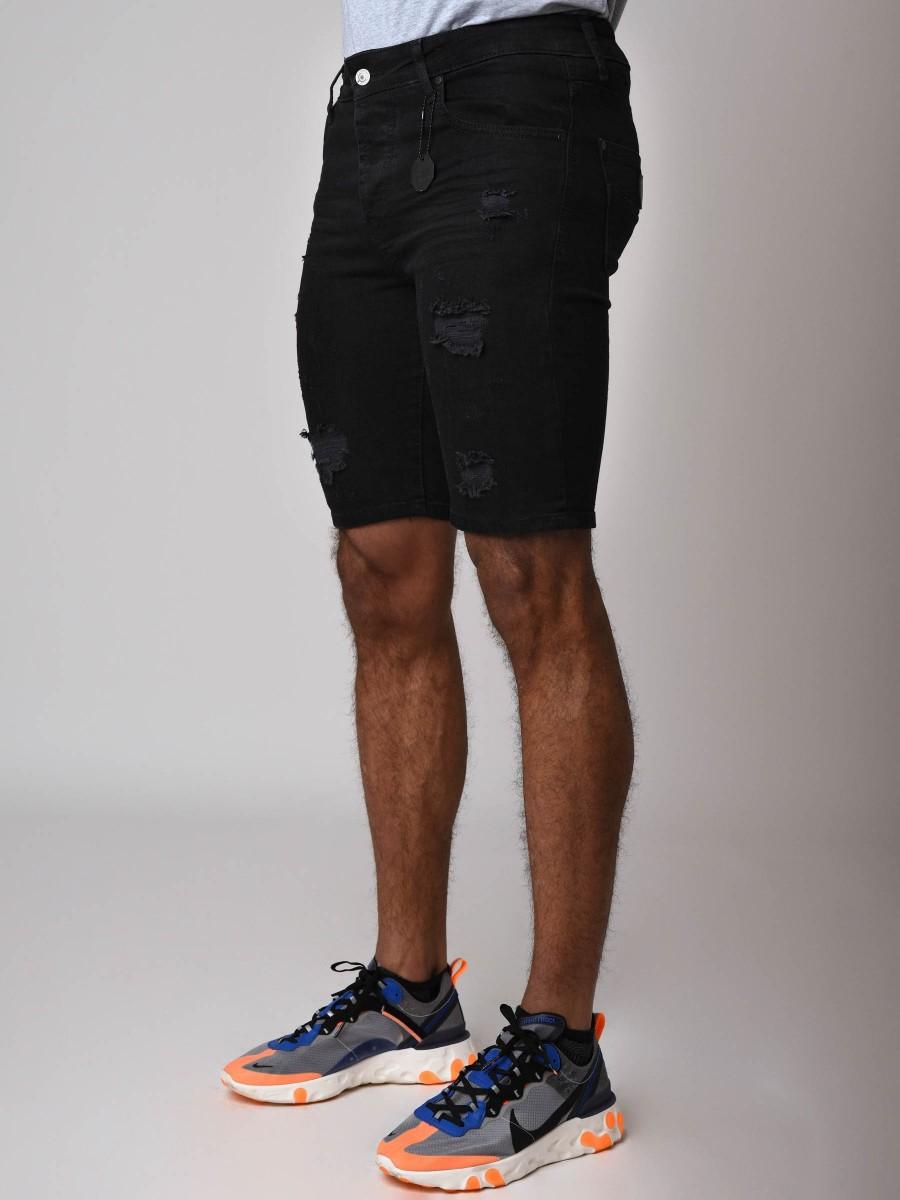 sans précédent qualité supérieure chaussures d'automne Short en jean skinny effet déchiré noir