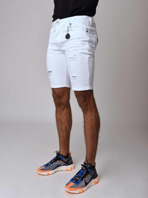 Short en jean skinny effet déchiré  Homme Project X Paris