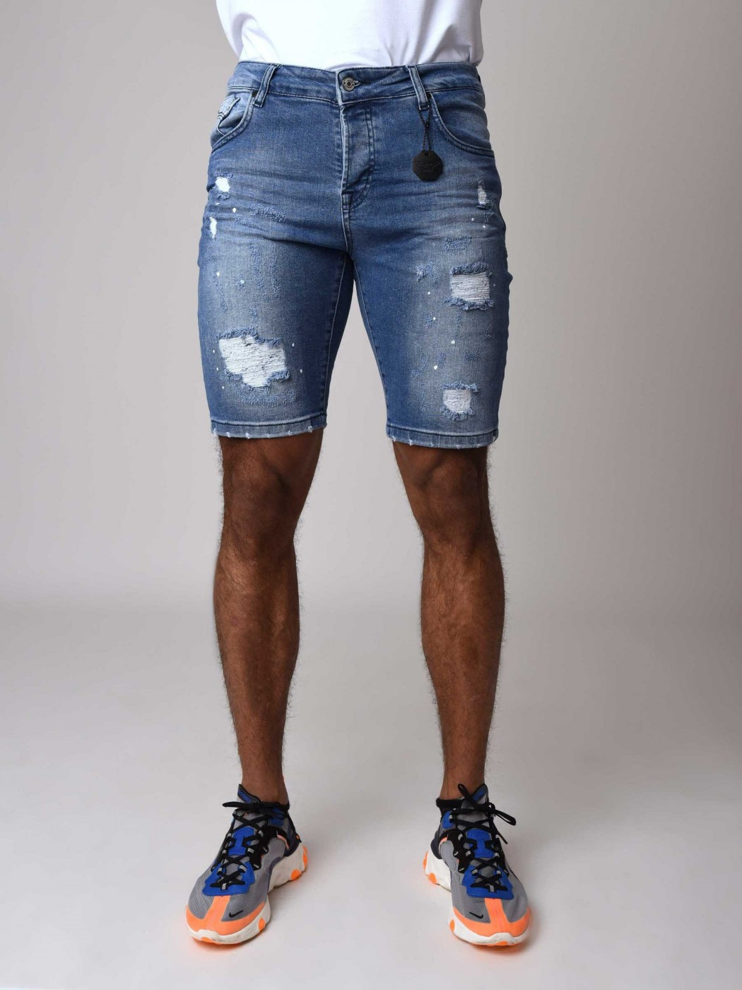 67c9bfedf2086 Men's Skinny Fit Denim Shorts with Ripped Detail Project X Paris