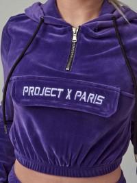 Sweat velours court à capuche femme Project X Paris