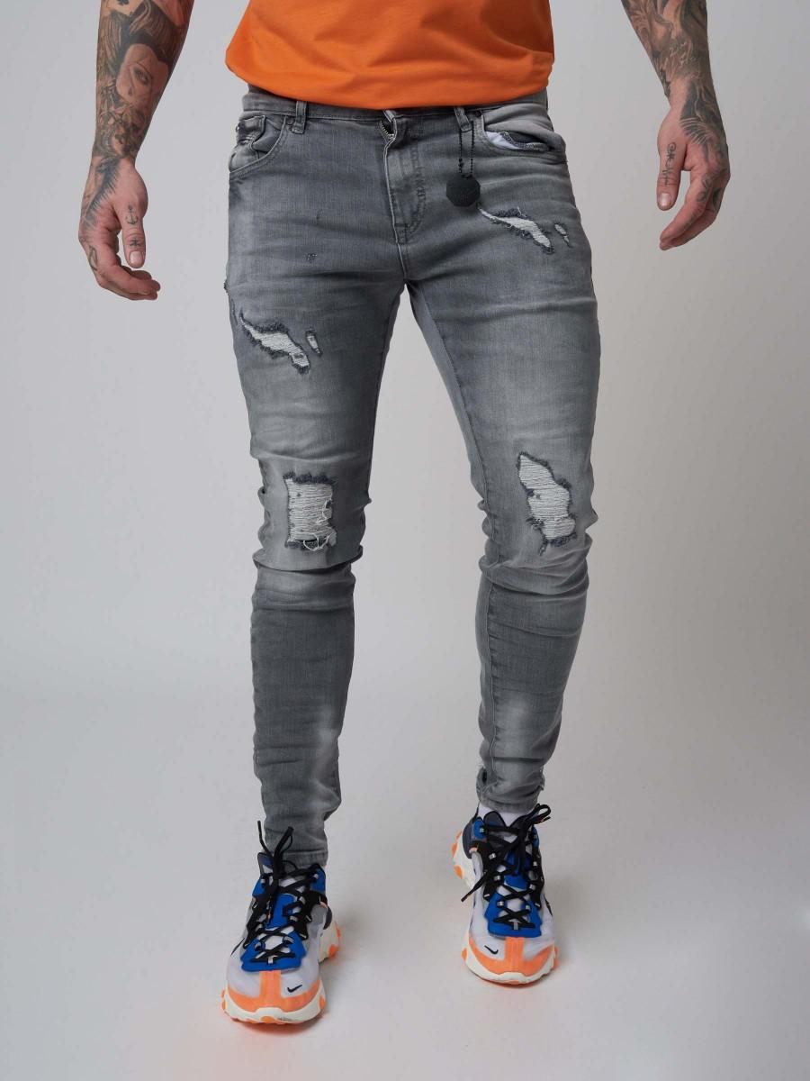d36e525e68caa Jean Skinny gris effet usé et délavé Homme Project X Paris
