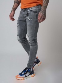 Skinny Fit Washed Jeans in Grey Project X Paris