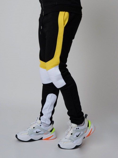 Pantalon de jogging velvet et fluo, empiècement biker Homme Project X Paris