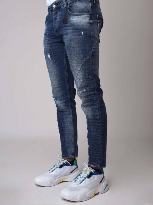 Jean Skinny bleu effet délavé et tacheté Homme Project X Paris