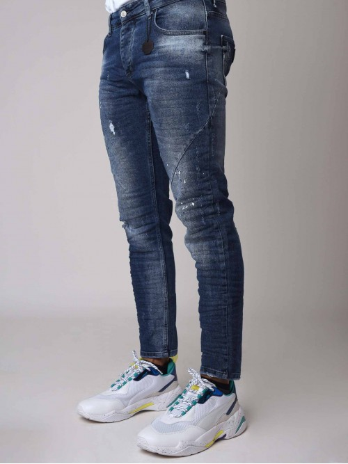 Skinny Fit Distressed Jeans with Paint Splatter in Blue Project X Paris