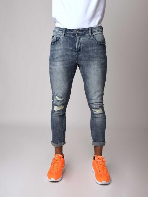 Jean bleu délavé coupe skinny Homme Project X Paris