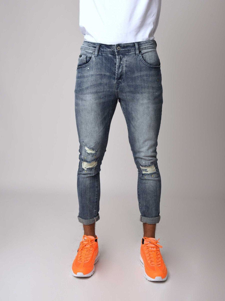 finest selection coupon code detailing Skinny Washed Jeans in Blue