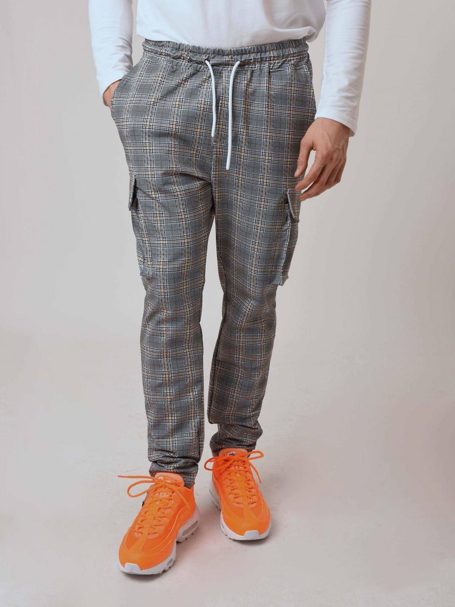 free delivery new photos cheapest price Pantalon style cargo à motif carreaux