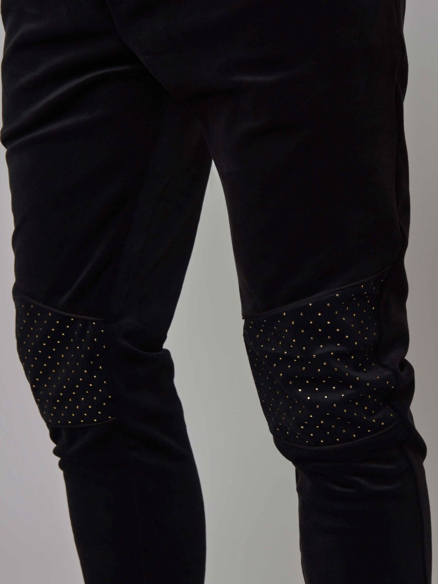 Velvet Joggers with Stud Details