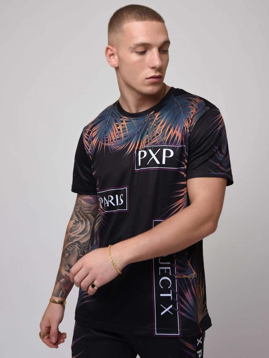 T-Shirt manches courtes impression feuilles de palmier