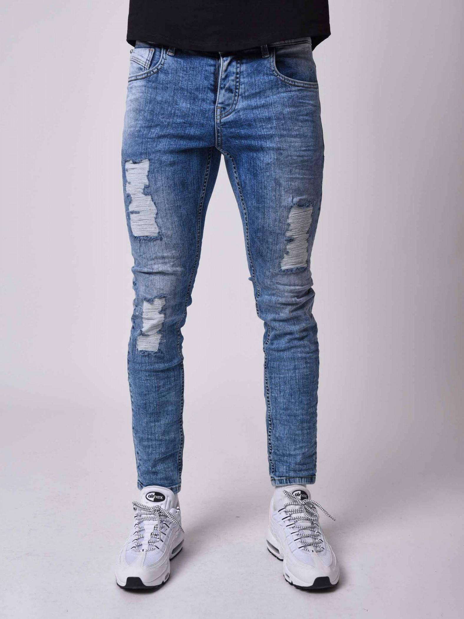 Homme industrialiser bleu clair délavé Stone Slim Skinny Fit 5 poches denim jeans