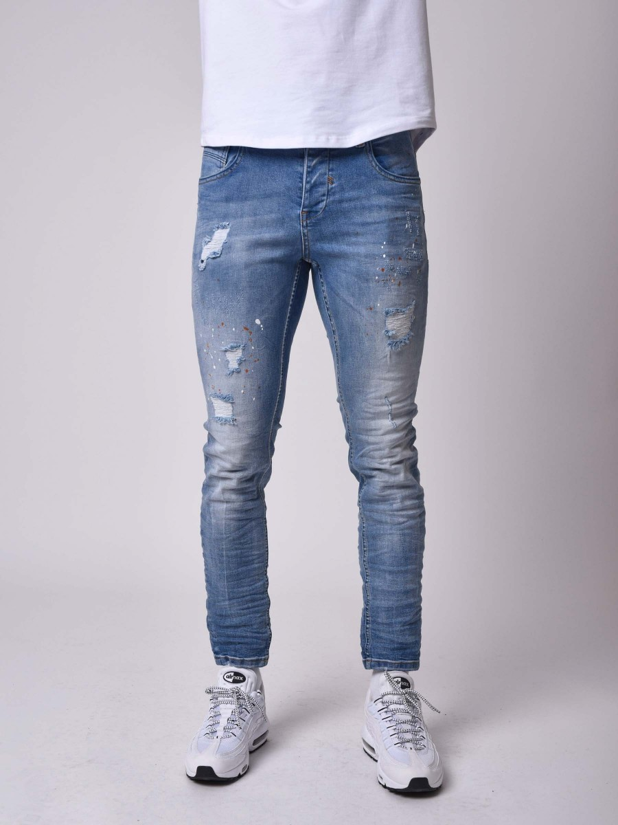 Häufig Skinny Fit Distressed Jeans with Splatter in Light Blue QA84