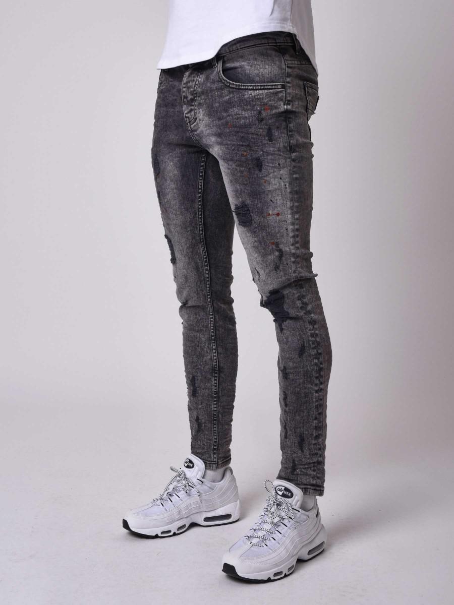 ec0068431 Jean skinny fit délavage gris foncé tacheté effet déchiré