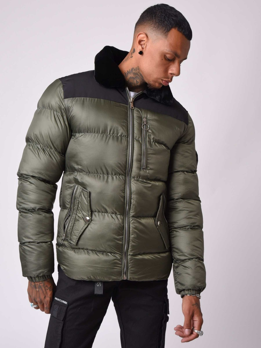 Two-tone Winter Aviator collar Jacket with Fur