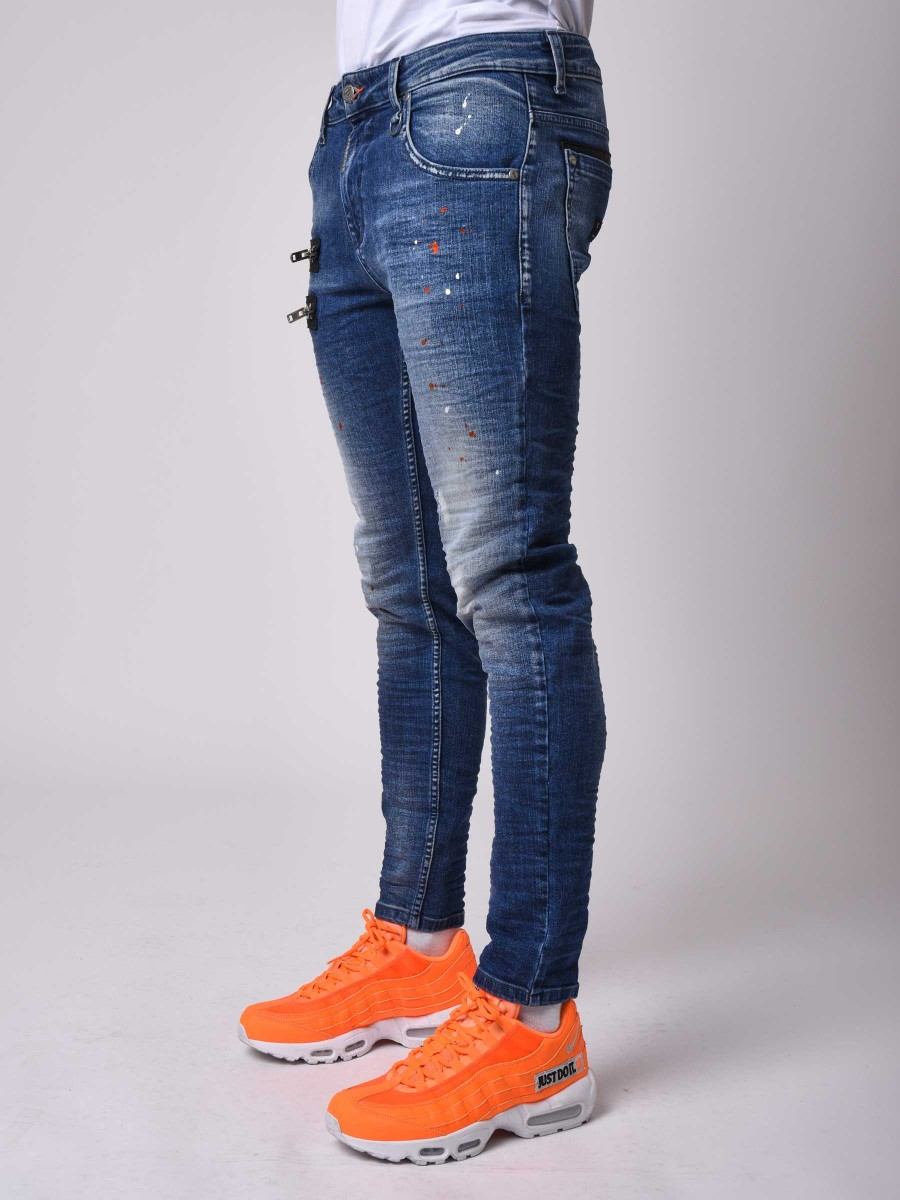 Washed Parallel zipper skinny Jean