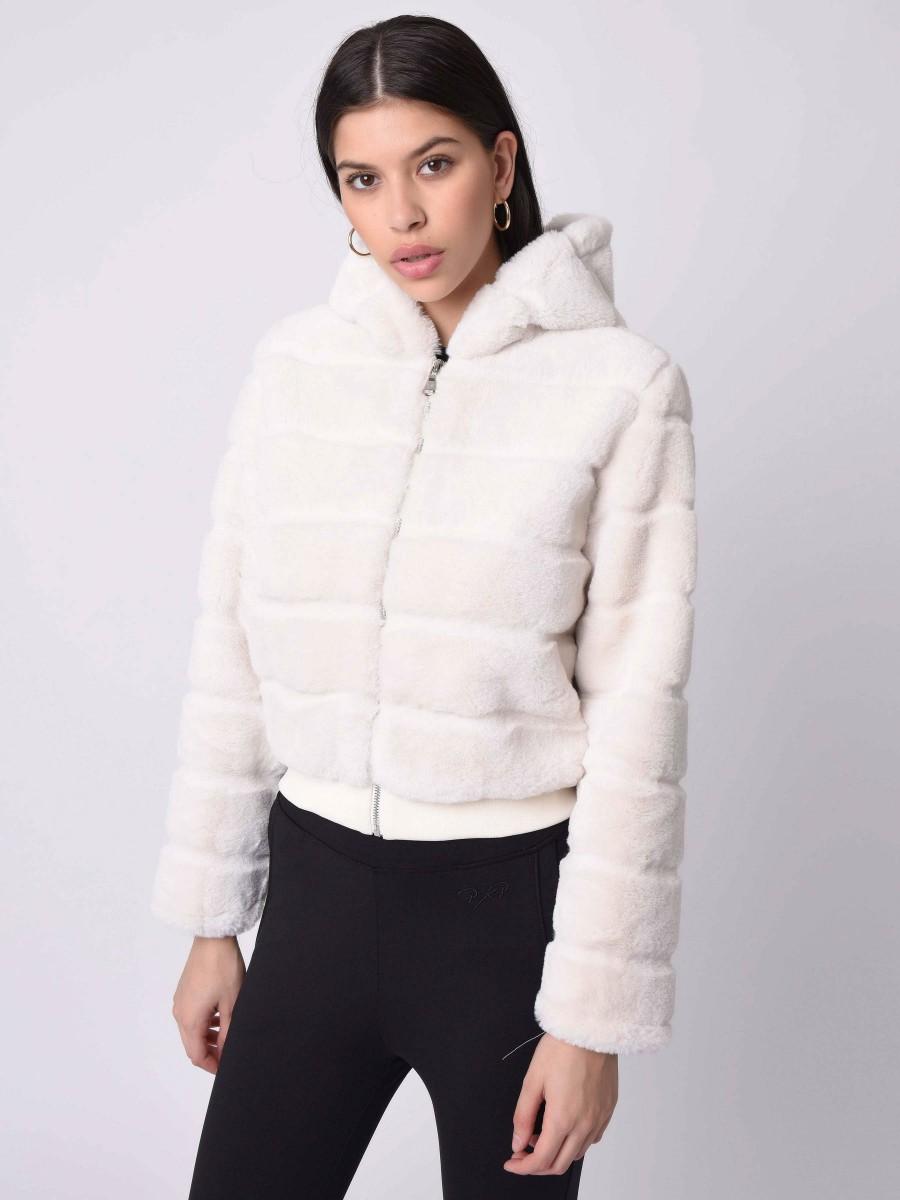 Veste courte à capuche en imitation fourrure