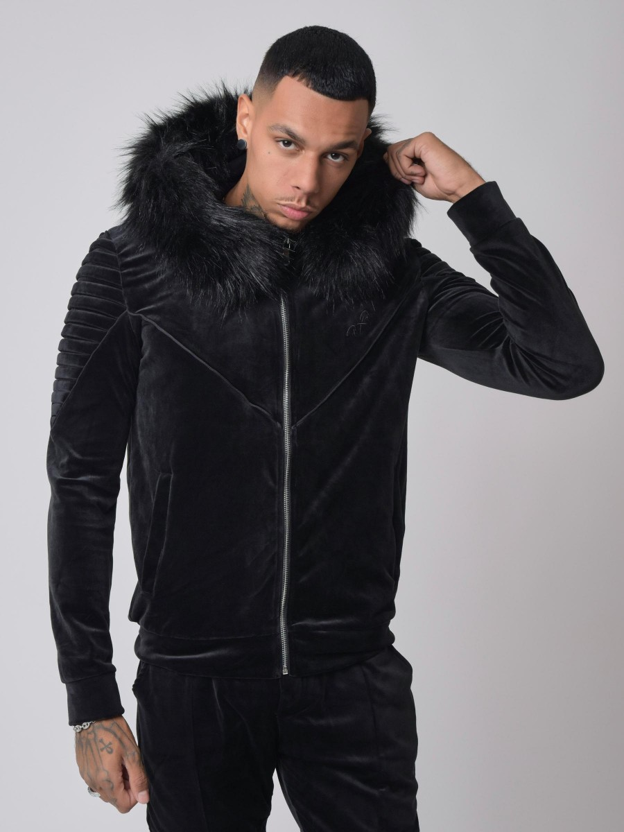 Ribbed Hooded Velvet Jacket with faux fur