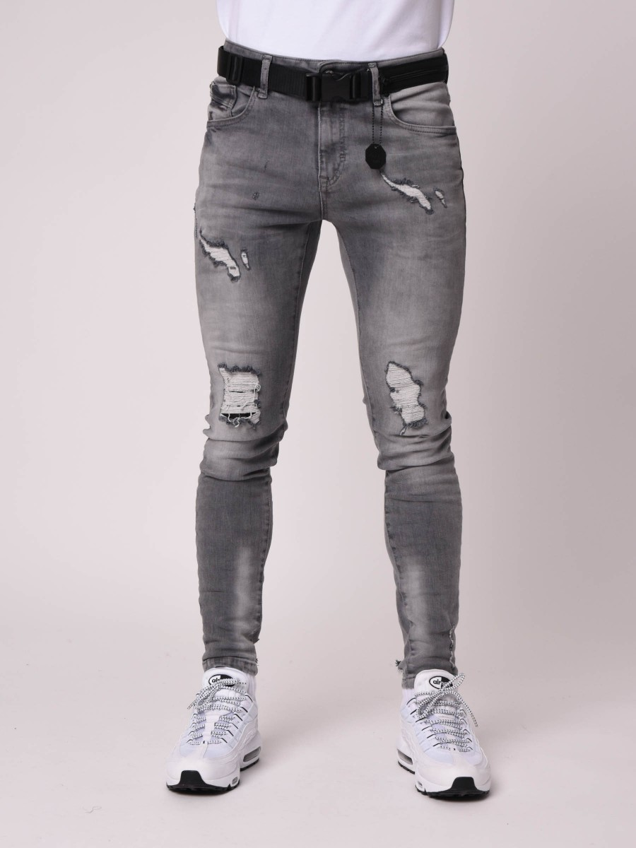 Skinny Fit Washed Jeans in Grey