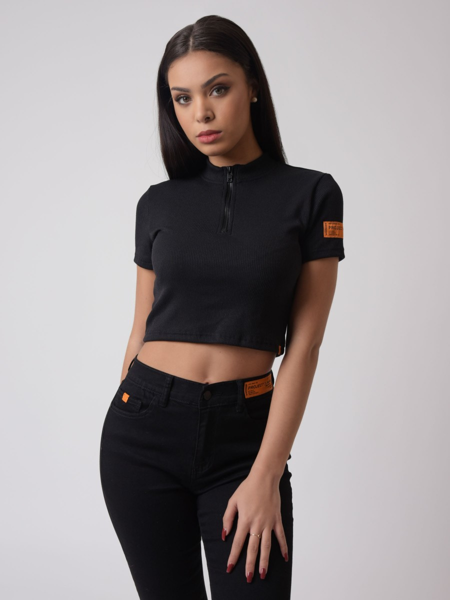 High neck crop T-shirt