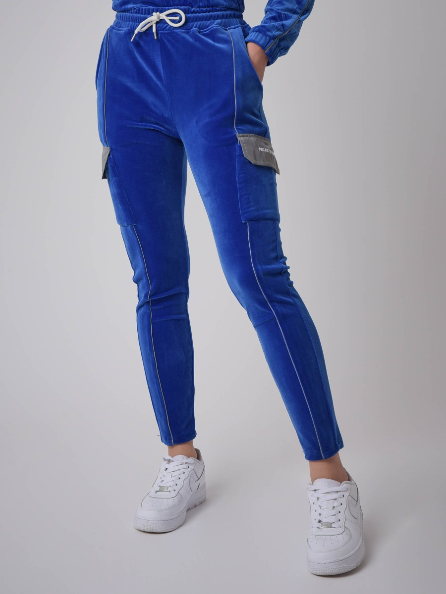 Cargo-style velvet jogger with reflective piping